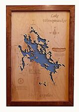 Wooden 2D Cut, Engraved LAKE WINNIPESAUKEE,NH Map Framed WALL ART laser engraved