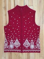 Talbots Womens S Christmas Holiday Party Embroidered Sweater Vest - Merino Wool