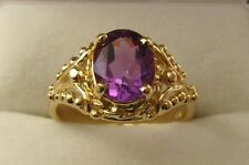 GENUINE 9K  9ct  SOLID Gold 9X7 mm LARGE NATURAL AMETHYST  DRESS RING