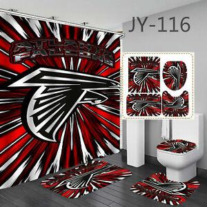 Atlanta Falcons Bathroom Rug Shower Curtain Bath Mat Toilet Lid Cover 4PCS Gifts