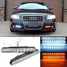 2pcs 12V LED Car Daytime Running Lights Yellow White DRL Daylight Lamp with Turn