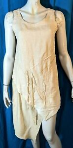 FILLE DES SABLES Taille  38 Superbe robe asymétrique beige LIN SOIE