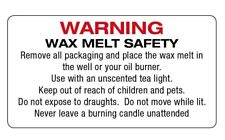 260 x WAX MELT SAFETY STICKERS WARNING Instructions requirement Labels - 678