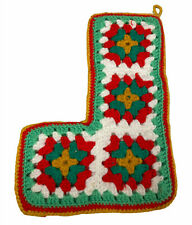 Vintage Crochet Granny Square Christmas Stocking Hand Made Red Green White