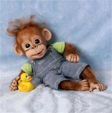 ASHTON DRAKE Handfuls of fun GOOFING OFF GEORGE Baby Ape MONKEY Doll NEW