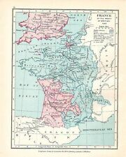 VICTORIAN MAP ~ FRANCE AT THE TREATY OF BRETIGNI 1360