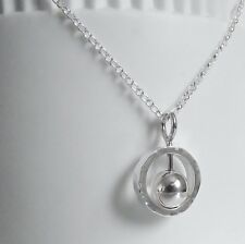 Silver Spinning Sphere Pendant Handmade Hammer Finished Necklace Sterling 925