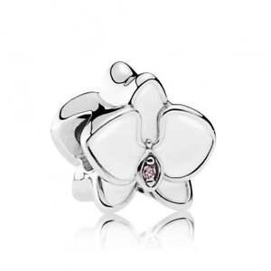 Genuine PANDORA Enamel White Orchid Sterling Silver Charm RETIRED 792074EN12