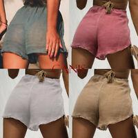 Women Summer High Waist Shorts Casual Beach Short Hot Pants Mesh Mini Trousers