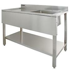 Sink Stainless Steel Commercial Catering Kitchen Single Bowl 1.0 Unit LH Drainer