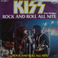 """7"""" 1976 GERMAN PRESS RARE IN VG++ ! KISS : Rock And Roll All Nite  ( LIVE )"""