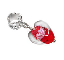 Red Pink Murano Glass Rose Heart Dangle Bead for Silver European Charm Bracelets