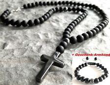 Halskette mit Kreuz Hämatit Onyx perlen Edelstein Cross Rosenkranz set Armband M