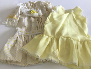 Vintage Doll Dress Set Drop Waist Slip Yellow Velvet Ribbon Rose Flocked Dotted