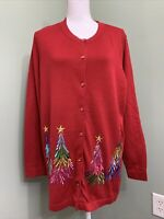 Quacker Factory Embroidered Sequin & Stud Tree Button Front Cardigan - Red - XL