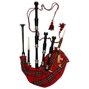 Scottish Highland Bagpipe Full Size Silver Mounts Black Finish With Tutor Book