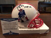 Ty Law Autographed New England Patriots Throwback Mini Helmet HOF 19 Beckett