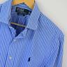 Mens Polo Ralph Lauren Blue White Stripe Slim Fit Long Sleeve Shirt L Large