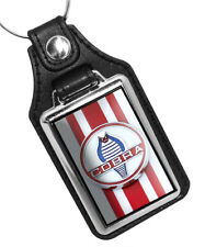 1960's Ford Cobra Emblem Red White Stripes Faux Leather Key Ring