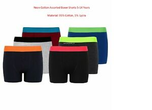 Kids Boys Best Quality Cotton Neon  Assorted Colour Boxer Shorts 5-14 Years