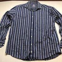 Bugatchi Uomo Mens Blue Stripe Long Sleeve Button Up Shirt Size XL A1116