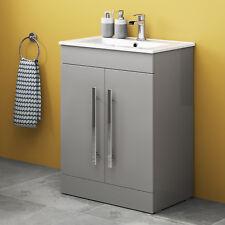 Modern 600 mm Grey Bathroom Vanity Unit Basin Furniture Floorstanding Sink