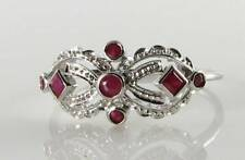 CLASS 9K 9CT WHITE GOLD INDIAN RUBY ART DECO INS MASK RING FREE SIZE