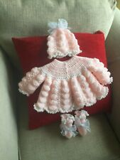hand knitted baby matinee set 0/3 months