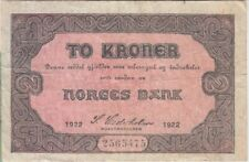 Norway banknote P14b-5475 2 Kroner 1922 F+  We Combine