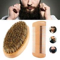 Mens Boar Hair Bristle Comb Beard Mustache Brush Military Hard Wood Handle s4