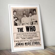 More details for the who vintage concert poster,  the who print, rock band poster, wall art