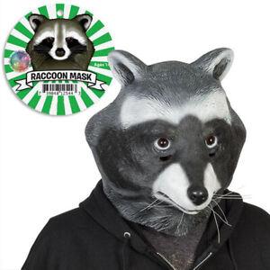 Halloween Animal Raccoon Latex Headwear Mask Adults Cosplay Masquerade Props