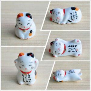 Japan Ceramic Lucky Cat Chopstick Stands Rest Rack Porcelain Maneki Neko Novelty