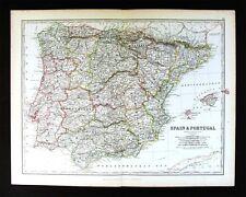 1883 Johnston Royal Atlas Map - Spain Portugal Gibraltar Madrid Lisbon Barcelona