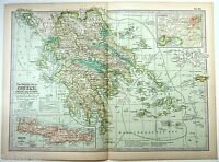 Original 1897 Map of Greece by The Century Company. Antique