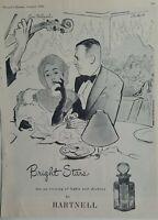 1946 Hartnell Bright Stars perfume Ciro's restaurant Hollywood vintage art ad