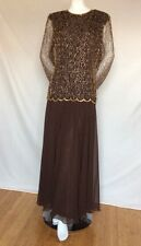 "Women's ""HANDMADE"" 100% SILK Chocolate/Brown & Beads Long Sleeves Dress Size L"