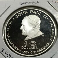 1979 DOMINICA $10 SILVER PROOF POPE JOHN PAUL RARE CROWN COIN