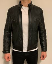 Leather Biker Jacket XS Black Motorcycle Mens Nappa Vintage Very Soft Coat