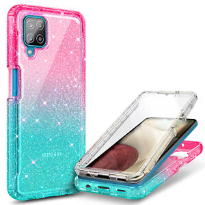 For Samsung Galaxy A12 Case, Full Body Phone Cover + Built-In Screen Protector