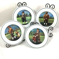 "Guy Buffet GOLF The Links Set of 4  8"" Salad Plates Eschenbach Porcelain Germany"