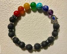 Chakra Balance Natural Stone Bracelet/Buda Eye Hand.