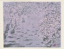 Haruko Matsuura Signed JAPANESE Orig WOODBLOCK PRINT - Cherry Blossom Shower