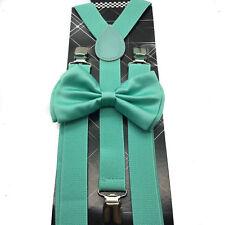 Bow Tie Combo Set Unisex Adjustable Mint Green Teal Seafoam Suspenders and