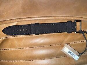 NWT Filson Brown Saddle Leather Black Canvas Nylon Watch Strap 22XL