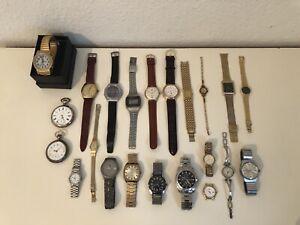 22x Uhren viele Marken Konvolut Armbanduhren / Taschenuhren Vintage Modelle