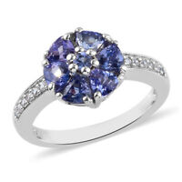 Cluster Ring Platinum Over 925 Silver Blue Tanzanite Jewelry Gift For Her