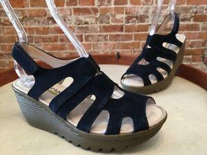 Skechers Navy Blue Suede Trapezoid Peep-toe Slingback Wedge Sandals New