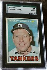 1967 Topps #150 Mickey Mantle (Dec'd HOF) NY Yankees SGC 35 2.5 GD+ Sharp Center
