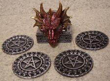 Drink Coaster Set of 4  Mythical Celtic Dragon Head Holder NEW